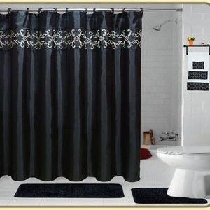 18 Pieces SHAGGY BATHROOM SETS Black